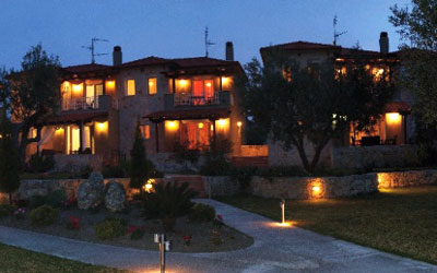 kassandra villas night buildings 400x250
